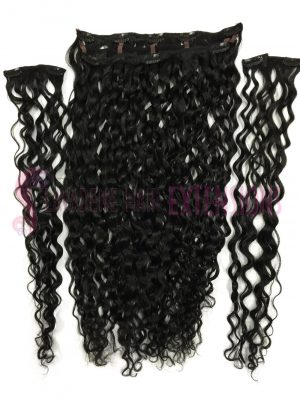 Clip In Hair Extensions 3pce Curly - Colour #1 Black
