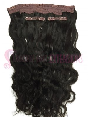 Clip In Hair Extensions 3pce Wavy - Colour #1B Darkest Brown