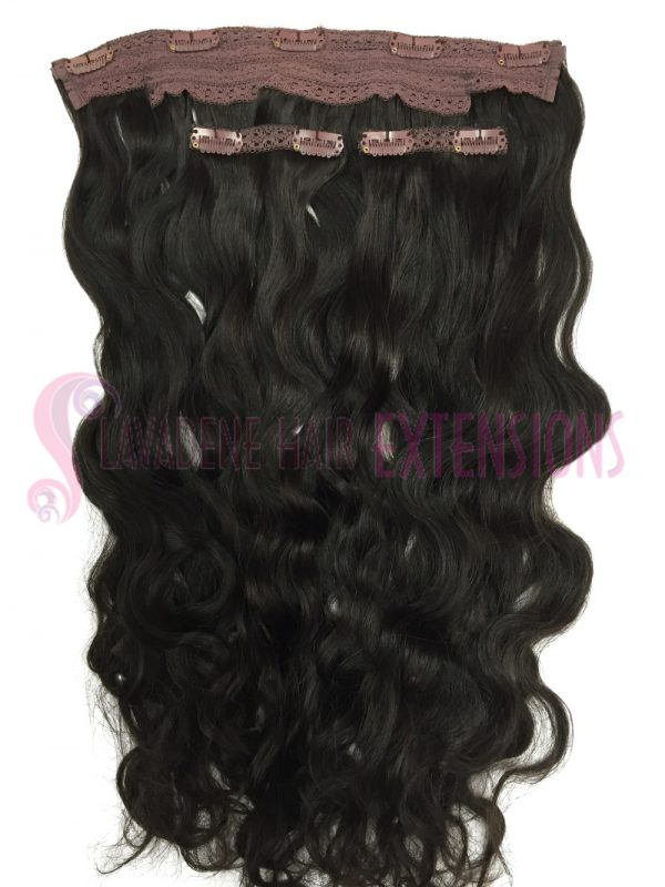 Clip In Hair Extensions 3pce Wavy - Colour #1B Darkest Brown