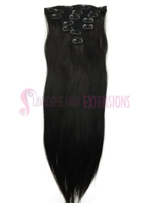 Clip In Hair Extensions 7pce Straight - Colour #1B Darkest Brown