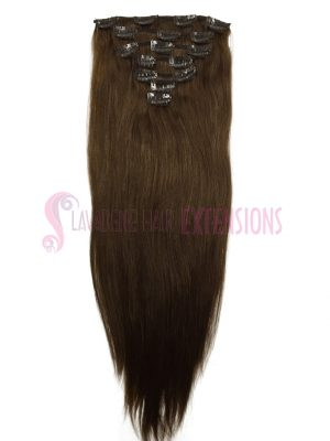 Clip In hair Extensions 7pce Straight - Colour #6 Medium Brown