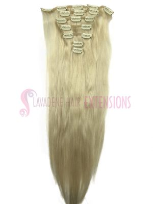 Clip in Hair Extensions 7pce Straight - Colour #60 Platinum Blonde