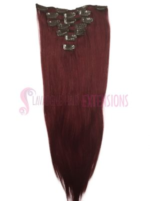 Clip in Hair Extensions 7pce Straight- Colour #99J Burgundy Red
