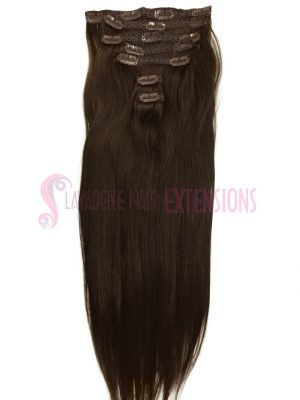 Clip In Hair Extensions 7pce Straight - Colour Choc Brown #2