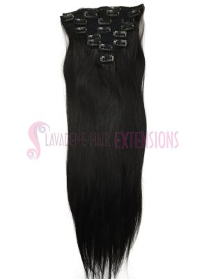 Clip in Hair Extensions 8pce Straight - Colour #1B Darkest Brown