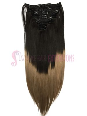 Clip in Hair Extensions 8pce Straight - Ombre Colour 1b/ 18
