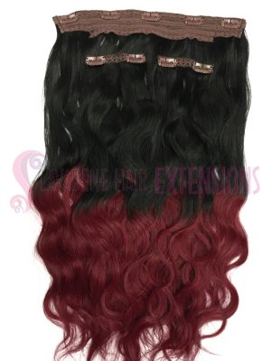 Clip in Hair Extensions 8pce Wavy - Ombre Colour 1/ Burgundy Red